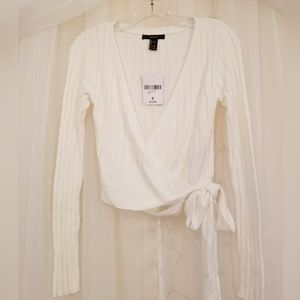 NWT Forever21 Cream Wrap Crop Top